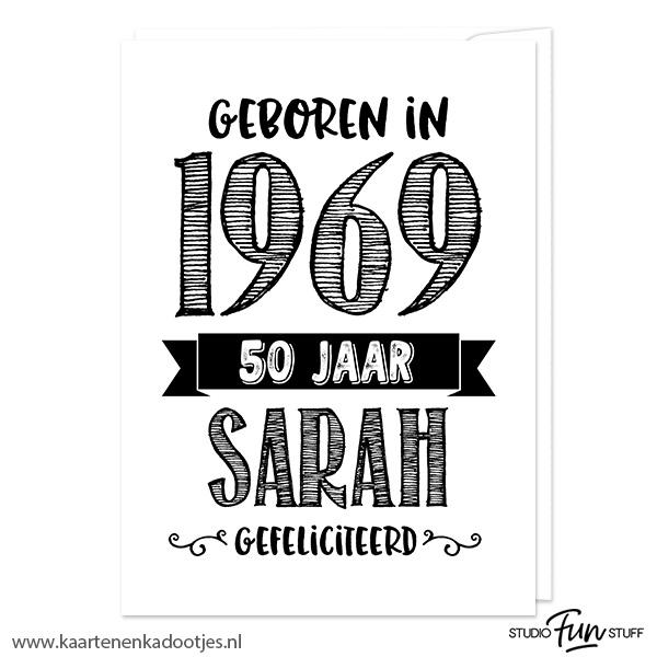 Bekend Kaart geboren in 1969 Sarah - Kaarten en kadootjes #AH81