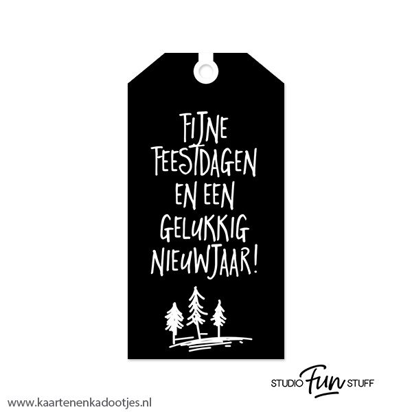 Kadolabel Medium Kerst Serie Fijne Feestdagen Zwart Kaarten En Kadootjes